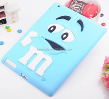 2015 hot selling M&M chocolate cute 3D silicone case for ipad mini mobile phone case