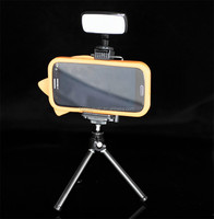 Smart Mobile Cell Phone Tripod Holder Clip with hotshoe for LED flash