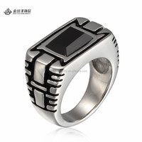 Fashion Stainless Steel Black Onyx Opal Ring for Men Wholesale 2015