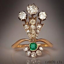 Fashion Chunky A Belle Epoque Plume-Shaped Ladies Ring