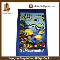 100% cotton cheap wholesale promotional Velour Reactive custom printed beach towel