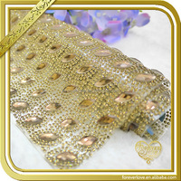 2016 New Arrival Gold rhinestone sheet for shoes/dress/bags/hats decoration FRM-122