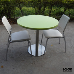 solid surface composite marble top dining table with metal legs