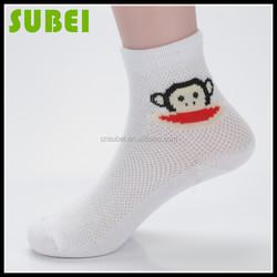 Children cartoon monkey patterned thin cotton socks,students cotton breathable mesh socks