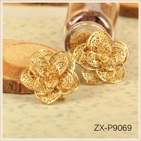 3D Matt Gold Rose Flower Copper Pendant Jewelry Charms Pendants