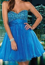 PD033 Real Picture A-line Sweetheart Beaded Blue Short Organza Prom Dress Made in China