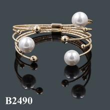 moda ingrosso perle monili di bigiotteria bracciale largo bracciale in oro 14k