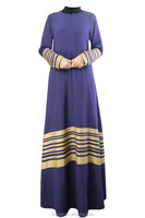 Gold Stripe Muslim Dress Fashion Casual long Abaya Women Dresses Kaftan 2015 Islamic Vestidos Clothes Muslim Women Large Size