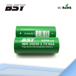 60a discharge 3.7v 4500mah rechargeable battery bsy 26650 battery bsy cgr26650a battery