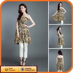 Fashion casual ladies pattern on one shoulder dress