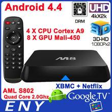 Amlogic S802 M8 TV Box Android 4.4 Kitkat Quad Core TV Box 4k Mali 450 Dual Band Wi-Fi 2.4GHz/5GHz