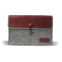 J.M.SHOW Notebook Sleeve Bag Envelope PU Leather Case Wool Felt Sleeve 14 inch for Pro 13 inch(Red)