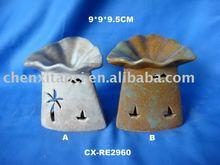 Color glazed porcelain oil burner-Handmade pottery essential oil warmer/incense burner