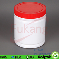 high quantity 1L large plastic food storage containers round whit lids