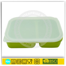 bsci approved factories silicone rubber container for food with dividers