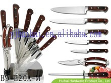 7pcs stainless steel kitchen knife set with pakka wood forged handle in acrylic block
