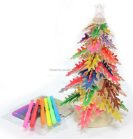 2013 hot sale 3D wooden puzzle Christmas tree with singing and lighting