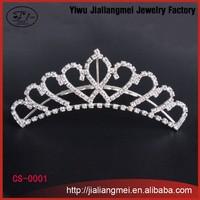 Shining rhinestone Romantic Hair Combs Silver plated Tiara Noble Princess Crown
