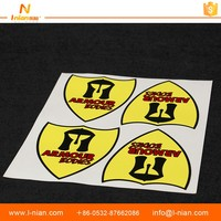 custom printed outdoor PET plastic self adhesive car logo sticker brand label