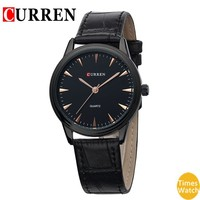 Curren Men's Wrist Watch Number and Strips Marks with Round Dial Leather Watchband