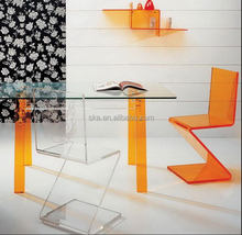 Custom orange acrylic office furniture custom office tablle acrylic computer desk and chair