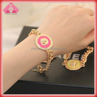Fashion Hoop Lion Chain Button Gold Charms Bangles For Women -BR15291