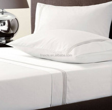 700Thread count 100% cotton sateen embroidered header sheet set and fabric for hotel bedding linen