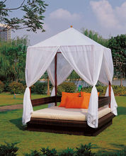 Lydia Popular Patio Rattan wicker set for balcony canopy Sunday/Daybed rattan Furniture