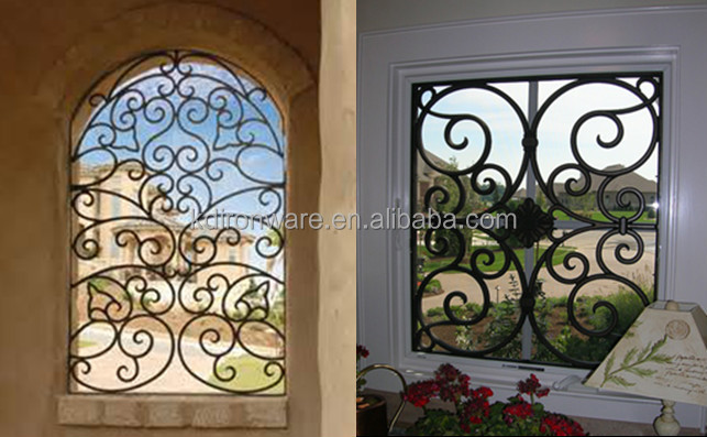 Simple modern french house wrought iron metal window grill for Iron window design house