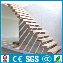 Interior decoration steel wood straight floating stairs