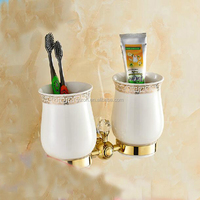 Wholesale And Retail Luxury Bathroom Accessories Tooth Brush Holder Dual Ceramic Cups Crystal Hangers Solid Brass Holder Tumbler