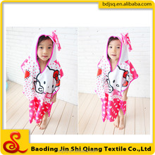 China wholesale custom printed kids hooded poncho beach towel