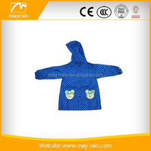 Lucky blue polyester kids wholesale raincoat