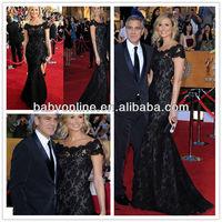 Gorgeous 2013 Double High Neck Cap Sleeves Drop Waist Mermaid Lace Celebrity Evening Dress