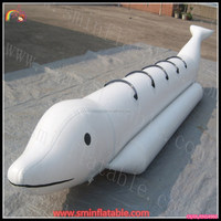 Funny inflatable flying fish / inflatable fish boat on water