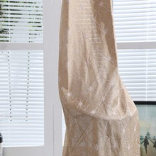 Wholesale cheap ready made embroidered sheer curtain drapes for cafe drapes