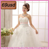 OYSC69-13 wholesale price with low price sweetheart neckline beaded sequins lace appliqued without train promotion wedding dress