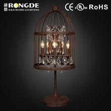 Simple creative style birdcage vintage black crystal table light