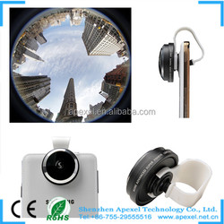 2015 new Mobile Phone Accessories, Optial glass Universal clip 235 degree fisheye lens for Camera Phone Lens/APL-FE235