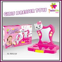 Girls toys plastic dresser table with mirror child toy dressing table with IC