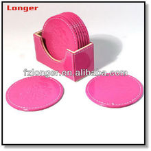 Round pink home decor pu leather coaster custom placemats coasters