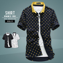 Young casual men's casual short-sleeved shirt printing shirt trend line