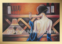2014 Hot Girl in Bar Modern Abstract Hand Painted Oil Painting