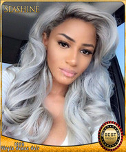 Wholesale price body wave wigs lace frontal guleless ombre grey hair wig 100% human hair