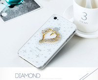 Fashional design TPU transparent phone case with heart shape luxury diamonds for iphone 4 4s 5 5c