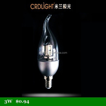LED silver transparent shade candle lights with tail base E14 1 year quality guaranteed 220V