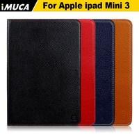 IMUCA Litchi genuine leather tablet case for iPad mini 3, 100% handmade original leather case