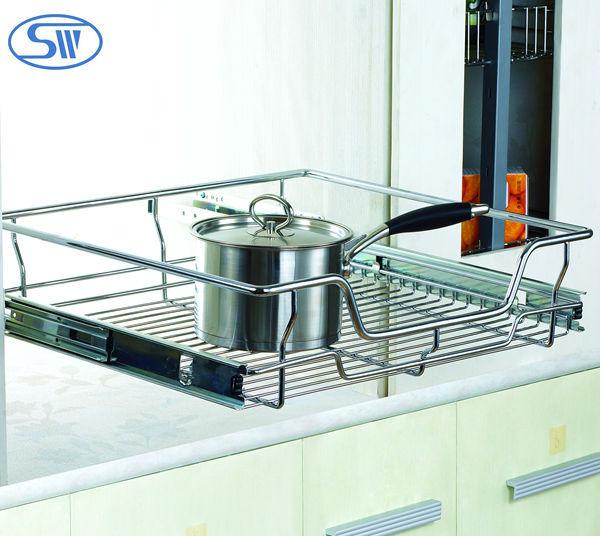 Hpj214 219 guangzhou fabriekslevering keuken draad lade mand keuken kast trek mand opslag - Keukenkast outs ...