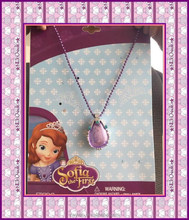 cheap selling kids chain necklace pink&purple alloy glass Princess Sofia charm pendants in stock