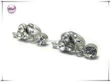Crystal stud little huggie earring - heart